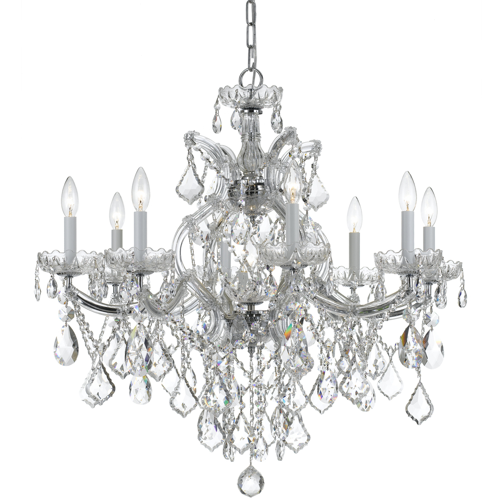 Strass Crystal Chandelier 9 light polished chrome crystal chandelier draped in clear swarovski 9 light polished chrome crystal chandelier draped in clear swarovski strass crystal audiocablefo